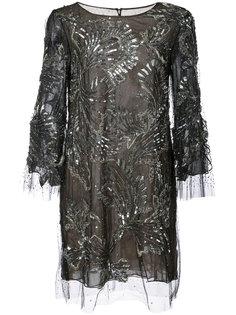 декорированное коктейльное платье Marchesa