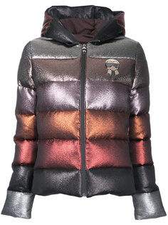 дутая куртка с капюшоном и блестками  Fendi