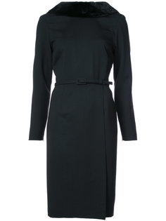 приталенное платье с норковым мехом Carolina Herrera