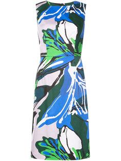 приталенное платье с цветочной вышивкой Carolina Herrera