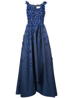 расклешенное вечернее платье с вышивкой Carolina Herrera