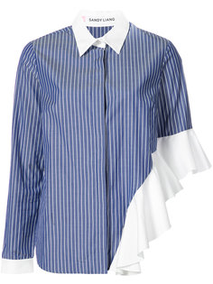 ruffled detail striped shirt  Sandy Liang