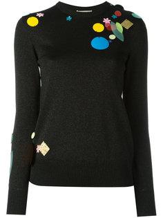 металлизированный свитер с декором из пайеток Christopher Kane