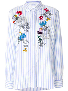 рубашка в полоску с цветочной вышивкой  Ermanno Scervino