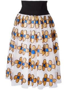 юбка длины миди с цветами из блесток Christopher Kane