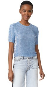 ASHISH Beaded Crop T-Shirt