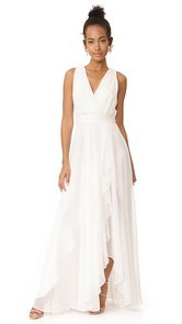 Badgley Mischka Collection Ruffle Front V Neck Gown