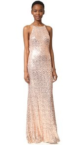 Badgley Mischka Collection Cowl Back Sequin Gown