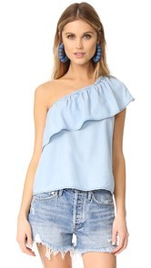 BB Dakota Inez Chambray One Shoulder Ruffle Top