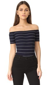 Capulet Off Shoulder Striped Bodysuit