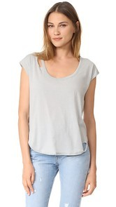 Chaser Deconstructed Scoop Neck Cap Sleeve Tee