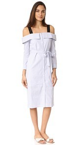 ENGLISH FACTORY Plaid Off Shoulder Dress