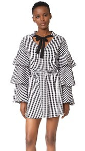 ENGLISH FACTORY Black and White Ruffle Plaid Dress