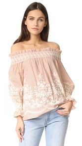 ENGLISH FACTORY Embroidered Off Shoulder Top