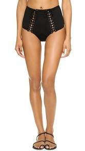 Fleur du Mal Lace Up High Waist Bikini Bottoms