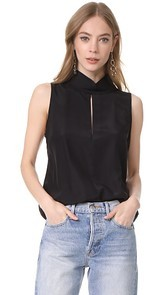 FRAME Mock Neck Silk Blouse