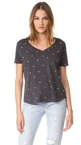 MONROW Studded Swiss Dot V Neck