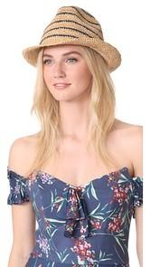 Hat Attack Raffia Stripe Fedora Hat