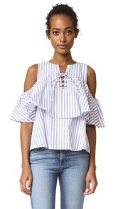 J.O.A. Lace Up Stripe Blouse