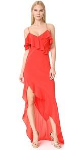 Michelle Mason Asymmetrical Ruffle Gown