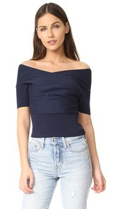Michelle Mason Short Sleeve Cross Wrap Top