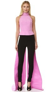 Monique Lhuillier Sleeveless Top with Train