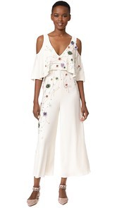 Monique Lhuillier V Neck Jumpsuit