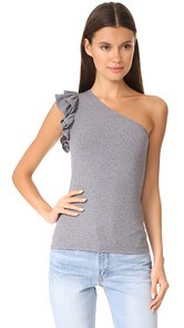 Rebecca Taylor One Shoulder Rib Jersey Top