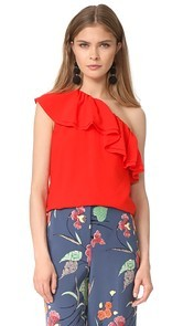 Rebecca Taylor One Shoulder Silk Top