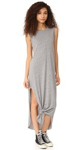 THE GREAT. The Sleeveless Knotted Tee Dress