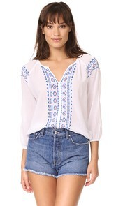 SUNDRY Split Neck Top with Embroidery
