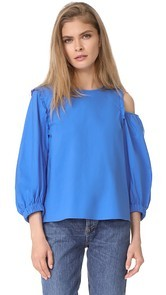 Tibi Poplin Asymmetrical Cutout Top
