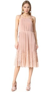 Whistles Lillan Pleated Lace Mix Dress
