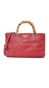 What Goes Around Comes Around Gucci Red Bamboo Shopper (Previously Owned)