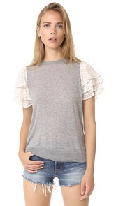 Clu Embroidered Silk Sleeve Top