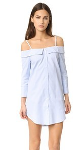 ENGLISH FACTORY Button Down Off Shoulder Dress
