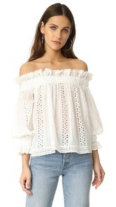 endless rose Off Shoulder Top with Ruffle Cuffs