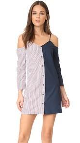 ENGLISH FACTORY Shirtdress with Stripe Combo