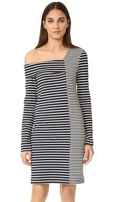 Edition10 One Shoulder Striped Dress