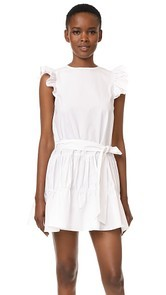 ENGLISH FACTORY Ruffled Dress with Tie Detail