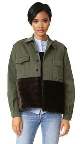 Harvey Faircloth Military Jacket with Faux Fur Trim