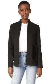 Harvey Faircloth Collarless Jacket with Faux Fur Pockets