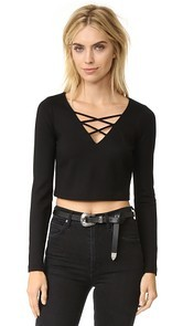 LAGENCE Ava Cropped Lace Up Top