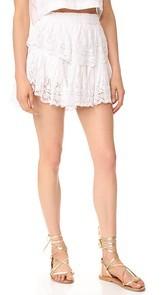 LOVESHACKFANCY Prairie Lace Ruffle Miniskirt