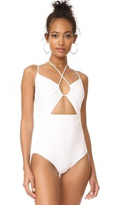 Michael Kors Collection Halter One Piece Swimsuit