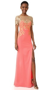 Marchesa Notte Stretch Crepe Gown