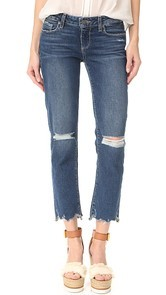 PAIGE Miki Straight Jeans with Distressed Hem