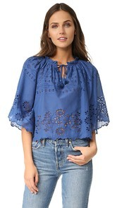 Sea Flutter Sleeve Peasant Top