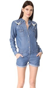 The Kooples Bird Embroidered Romper