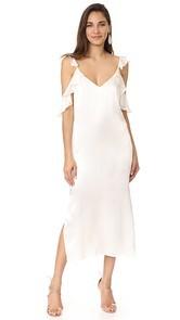 WAYF Costa Ruffle Cold Shoulder Slip Dress